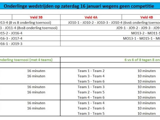 Zaterdag 16/1 start onderlinge wedstrijden voor de jeugd