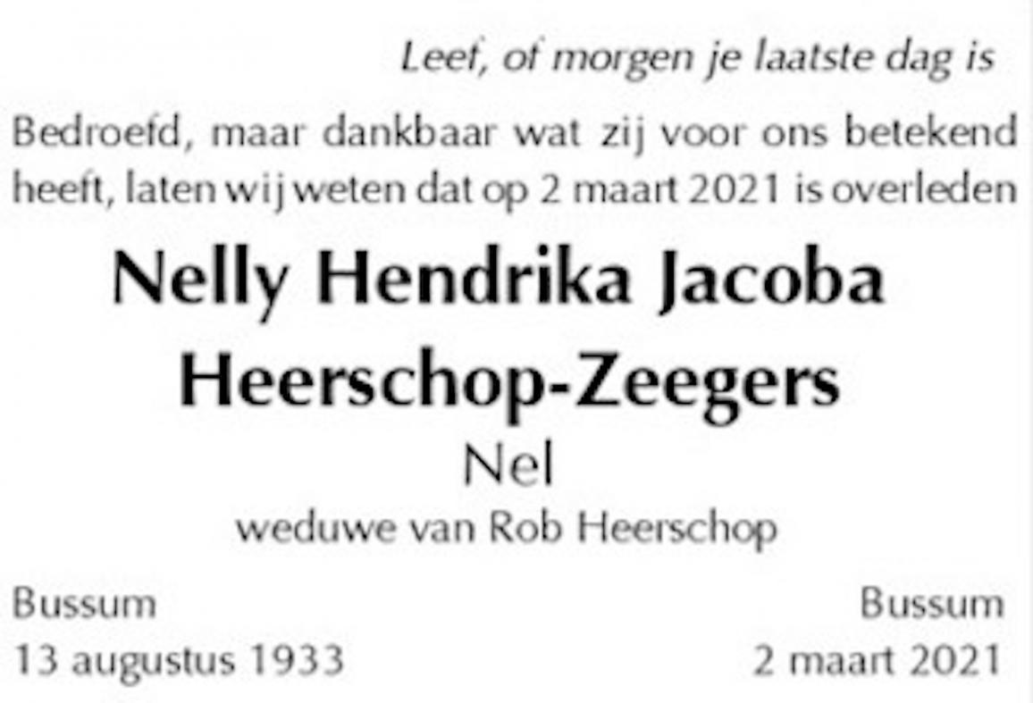 Erelid Nel Heerschop overleden