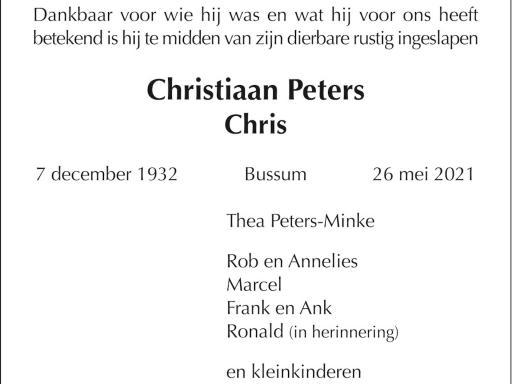 Overlijden Chris Peters